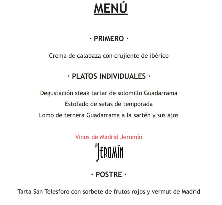 Menú cena Ruta Gastronómica de Producto Km.0 restaurante El Telegrafo. La Tienda de Vino. Vinos Jeromín