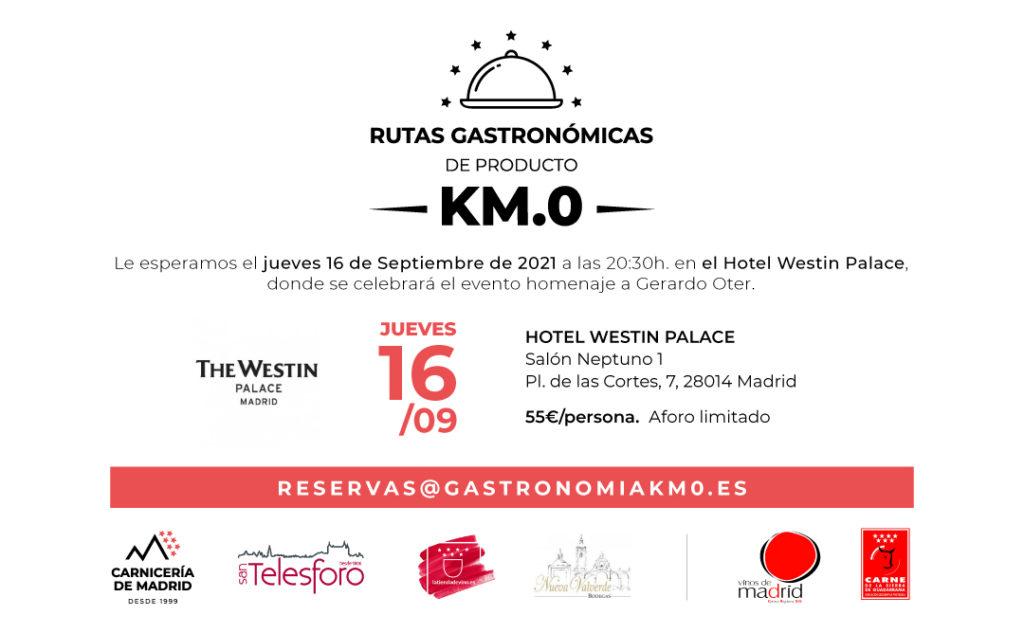 La Tienda de Vino presente en la 2ª cena Ruta Gastronómica Producto KM.0 en The Westin Palace Madrid. Invitación